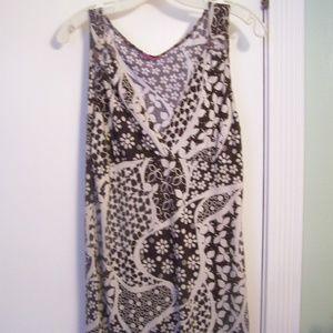 Lola Knit Print Boho Tunic Top XL Brown White